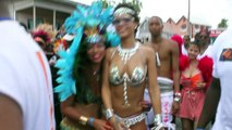 Rihanna Risks Wardrobe Malfunction in Bejeweled Bikinii During Barbados Parade