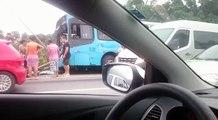 Acidente entre ônibus, caminhão e carro na BR 101, na Serra