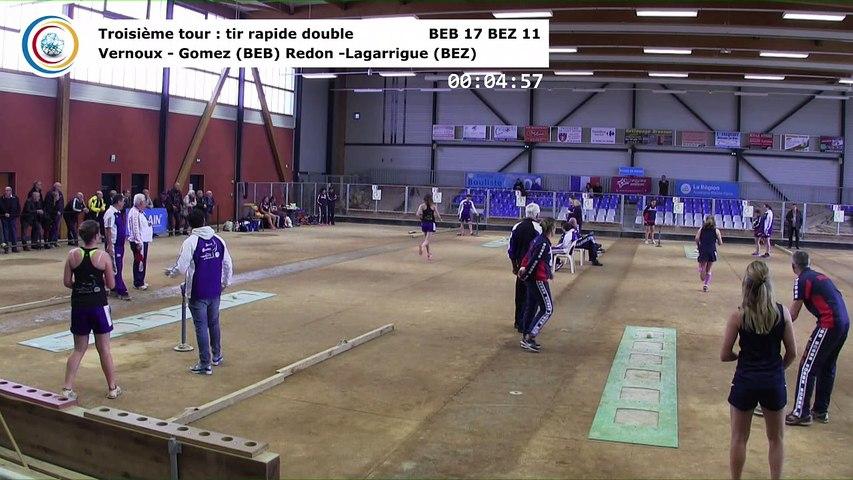 Troisième tour, tir rapide en double, Club Elite Féminin, J4, Bourg-en-Bresse contre Béziers, novembre 2017