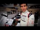 Porsche Team's driver Mark Webber explains about Porsche 919 Hybrid Steering Wheel