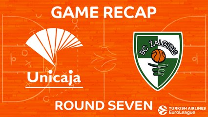 EuroLeague 2017-18 Highlights Regular Season Round 7 video: Unicaja 83-85 Zalgiris