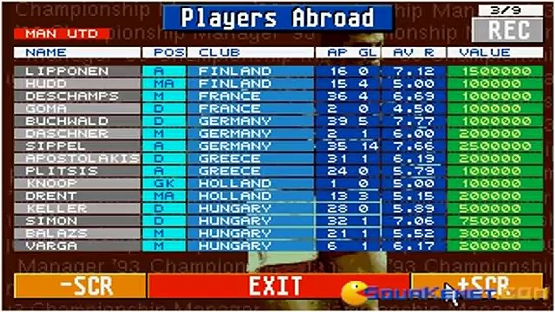 Championship Manager 1993 gameplay (PC Game, 1993)