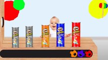 Learn colors with Colorful Pringles Chips Soccer Balls WOODEN HAMMER Carton for