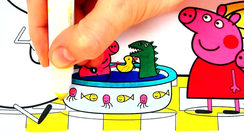 Peppa Pig Baby Alexander Bath Tub Coloring Book Pages Video For Kids With Colored Markers Video Dailymotion