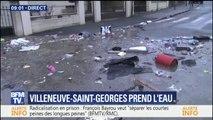 A Villeneuve-Saint-Georges, la crue de la Seine répand les déchets dans les rues