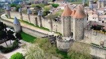 Carcassonne la cité vue du ciel par cerf volant 2013
