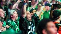 Fans Eagles bertabrakan dengan tiang subway ketika mencoba bertemu dengan fans Philly - TomoNews