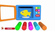 Learn Colors With Microwave and Blender Toy Appliance Play Doh Fish Mold for Chi