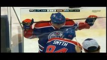 Taylor Hall penalty shot in OT Feb 4 2013 Vancouver Canucks vs Edmonton Oilers NHL Hockey