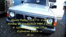 Nissan Patrol GR TD CourtAnnées de production 1989 à 19986 cylindres en ligne 115cv Cylindreé 2826 11 cv