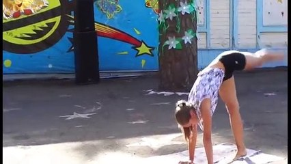 Flexible girl gymnast