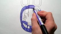 How to draw withered Bonnie jumpscare from Five Nights at Freddys FNAF drawing lesson