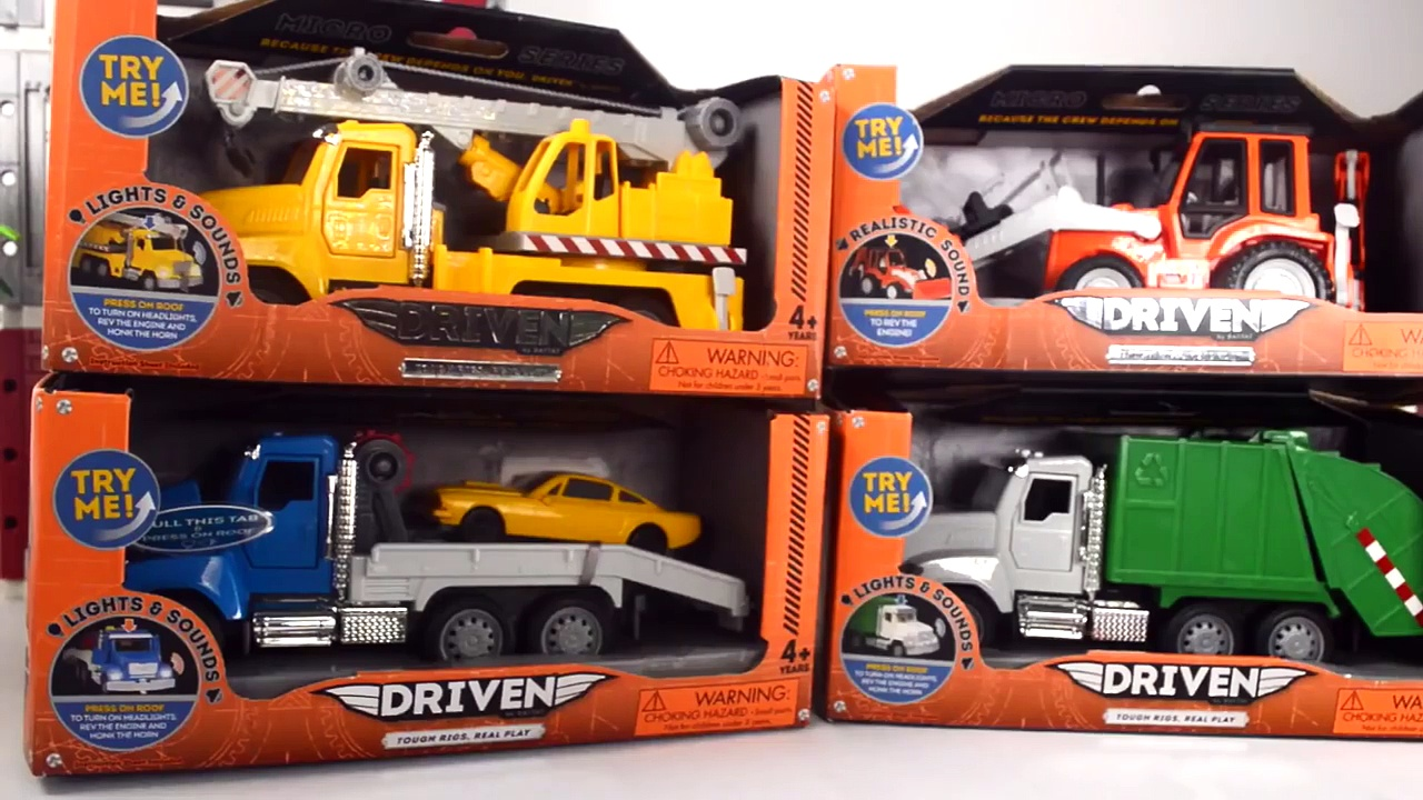 TRUCKS, TRUCKS! PLAY DOH, CONSTRUCTION TOYS, CRANE TRUCK, GARBAGE TRUCK, CEMENT TRUCK, TOW TRUCK TOY
