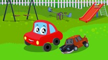 little red car and the scary flying sharks in a Halloween special video by Kids Channel