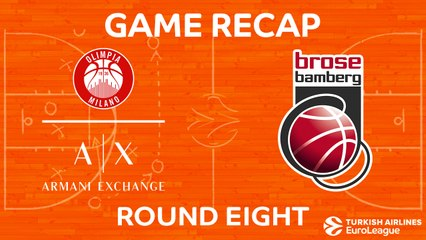 EuroLeague 2017-18 Highlights Regular Season Round 8 video: AX Milan 71-62 Bamberg