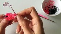 Como fazer Pulseira com Laço de elasticos (sem Tear) e laço para o cabelo - Rainbow Loom