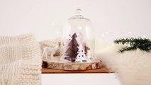 DIY Noel : faire un paysage sous cloche avec des sapins en papier
