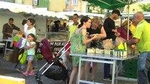 La remise du panier garni au marché des producteurs de Ferrières