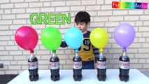 Learns Colors with Balloons and Diet Coke Mentos Experiment Challenge _ Fun Kid Science Experiment-ugAytu5plag