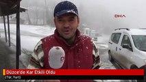 Düzce'de Kar Etkili Oldu