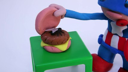 EATING A FLY CHEESEBURGER! Marvel HULK Superhero Stop Motion Play Doh Videos
