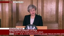 Theresa May raises threat level to critical in Manchester terror update (23May17)
