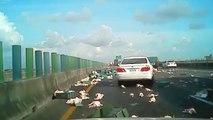 Quand un camion transportant des milliers de poulets se renverse sur l'autoroute! Oups