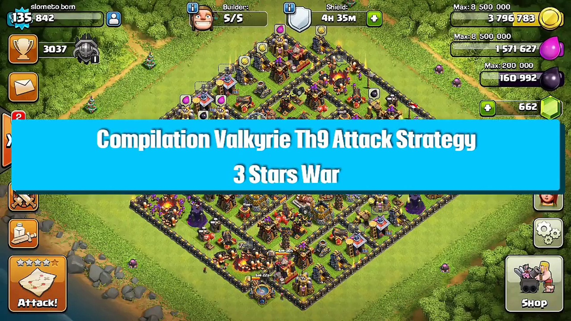 3 Star Th9 vs Th9 Valkyrie War Attack Strategy Compilation