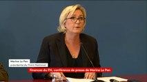 """Marine Le Pen dénonce une """"fatwa bancaire"""" et annonce des plaintes contre la Société générale et HSBC."""