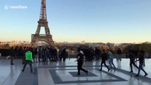 Celtic fans have kickabout in front of Eiffel Tower