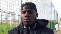 Le défenseur du FC Martigues Loîc Kouagba avant la réception de Tarbes