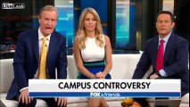Man holds US flag at berkeley college and the gets negative responses.