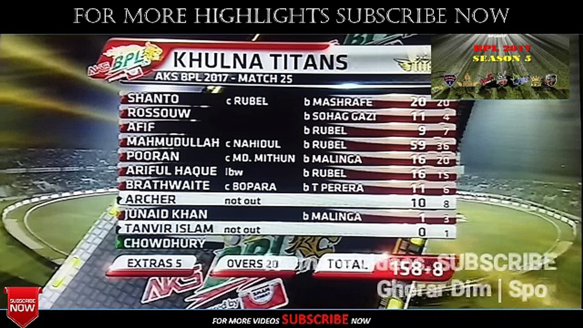 HIGHLIGHTS | Khulna vs Rangpur Highlights | BPL 2017 Match 25 | BPL 2017 Match 25 Highlights