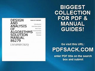 Design And Analysis Of Algorithms Solution Manual 86279
