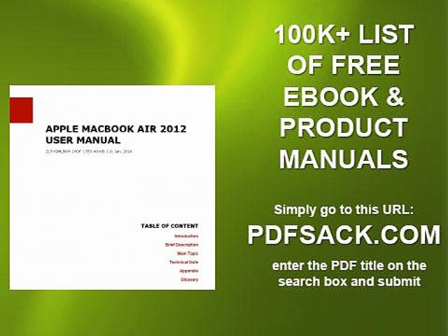 Apple Macbook Air 2012 User Manual