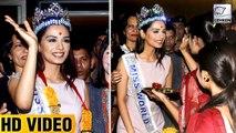 Manushi Chillar Grand Welcome At Mumbai Airport   Full Video