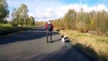 Meilleur footing... en roller tiré par son chien !! Sans efforts...