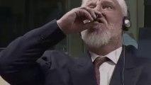 Slobodan Praljak toma veneno tras escuchar la condena por crímenes de guerra .- Imágenes que pueden herir su sensibilidad