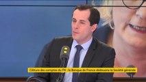"""""""Nous levons volontiers le secret bancaire, si c'est ce qui bloque la Société générale pour dire la vérité, nous sommes parfaitement sereins,"""" affirme Nicolas Bay, vice-président du FN"""