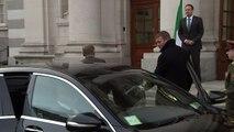 Donald Tusk greeted by Leo Varadkar in Dublin
