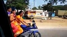 Aunties Bike Ride wearing Saree   Yamaha R15 promo   Bike Ride by Andhra Aunties   Bike Ride on Saree   Kiranam Aunties