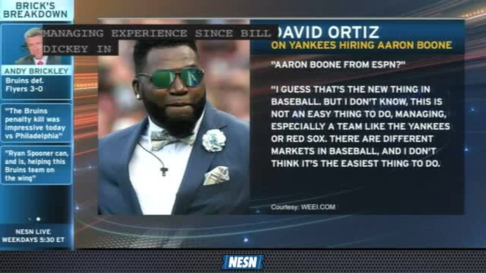 NESN Sports Today: David Ortiz Reacts To Yankees Hiring Aaron Boone As Manager