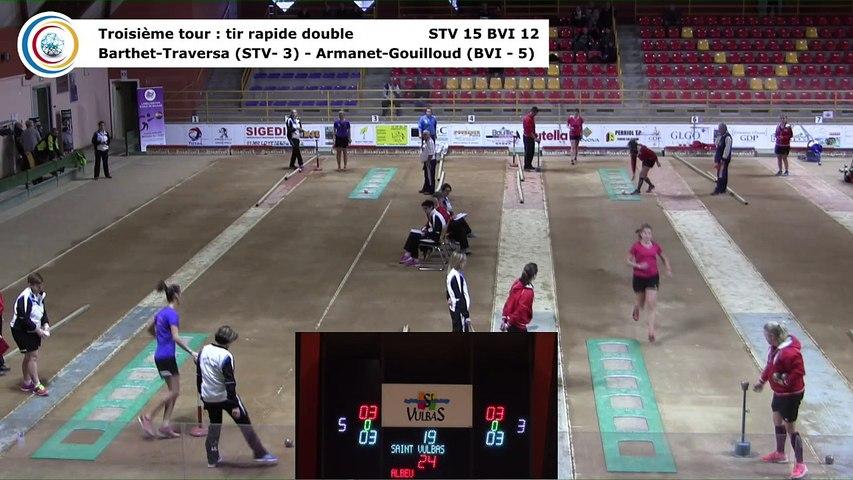 Troisième tour, tir rapide en double, Club Elite Féminin, J1 play-off, Saint-Vulbas contre Bièvre Isère, décembre 2017