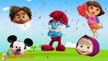 P2 Wrong Heads Smurf Mickey Mouse Masha Dinosaur Funny Face Swap, Finger Family Song, Nursery Rhymes