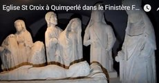 Eglise St Croix à Quimperlédans le FinistèreFilmée de nuit le 5 décembre 2017 .UNIQUE Eglise bretonne de plan circulaireronde. Du 11ème siècle, ce serait l'imitationd'une église à Jérusalem