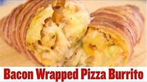 Super Snack Recipes: Bacon Wrapped Pizza Burritos