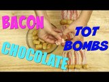 How to Make Bacon Wrapped Tater Tots Dipped in Chocolate! - Weird Snacks | #FoodPorn