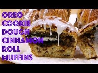 Dessert Breakfast Overload: Oreo Cookie Dough Cinnamon Roll Muffins