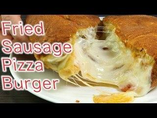Fried Sausage Pizza Burger