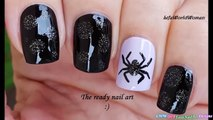 SPIDER NAIL ART _ Black & Purple HALLOWEEN NAILS-U7UnhqipEtk